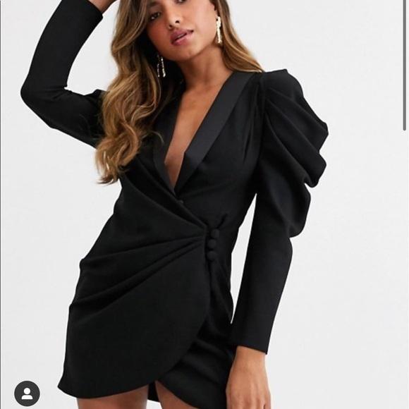 ASOS Mini Drape Front Black Tuxedo Dress